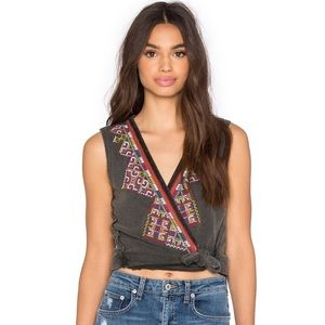 Free People Around The World Embroidered Wrap Top